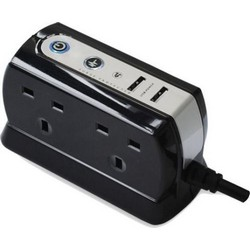 Masterplug 4 Gang Plug in Charger with 2 USB Sockets and Surge Protection