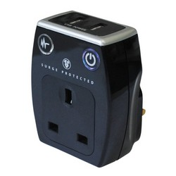 Masterplug Plug in Charger with 2 USB Sockets and Surge Protection