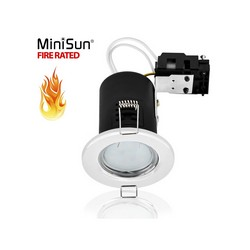 GU10 Downlight Lamp Spotlight Holder Fire Rated Gloss White Minisun